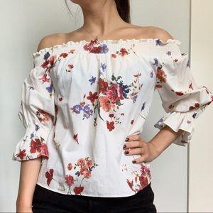 ZARA floral off the shoulder top